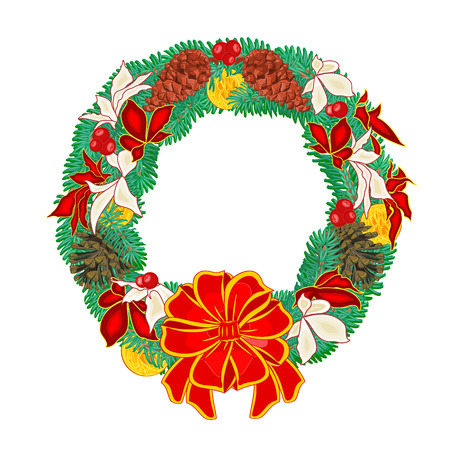 trimmings: Christmas Wreath with pine cones and  poinsettia and Christmas trimmings illustration