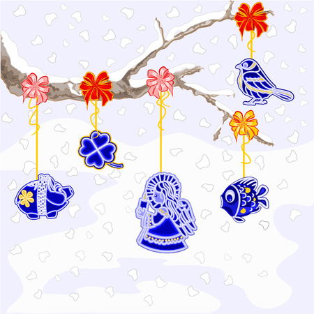 faience: Winter branch with Christmas trimmings faience vintage vector illustration Illustration