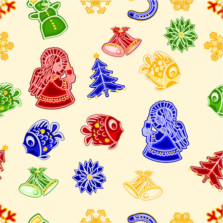 trimmings: Seamless texture angel fish bells snowman and snowflake and christmas tree Christmas decorations vector illustration