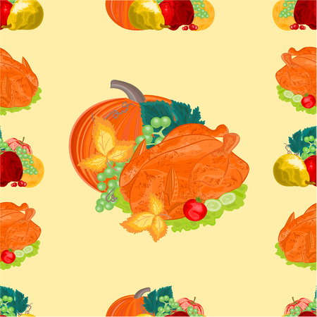 Seamless texture turkey and fruit  with pumpkin thanksgiving day vector illustration Vector