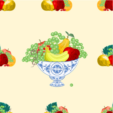 faience: Seamless texture fruit faience bowl healthy food vector illustration