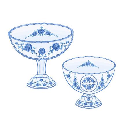 faience: Faience cups decoration ceramic porcelain illustration Illustration