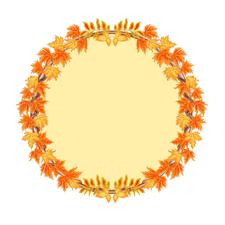 ashberry: Frame  round with autumn leaves rowan and maple vector illustration