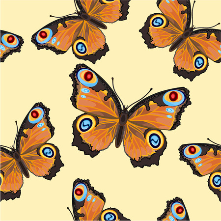 inachis: Seamless texture flight Butterfly -Inachis-io vector illustration Illustration