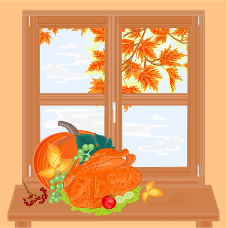 food healthy: Window and celebratory food healthy food autumn theme thanksgiving day vector illustration Illustration