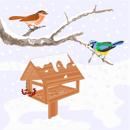 feeder: Birds titmouse warbler and feeder winter theme vector illustration