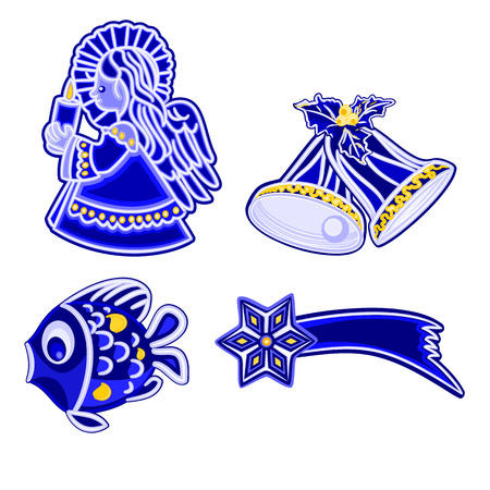 faience: Christmas decoration blue faience vintage angel bells fish and comet vector illustration
