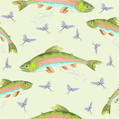 Seamless  texture rainbow trout  leaping salmon vector illustration