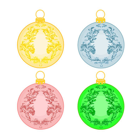 trimmings: Christmas balls with ornaments christmas trimmings vintage vector illustration