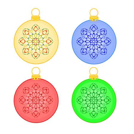 trimmings: Christmas balls christmas trimmings vintage vector illustration