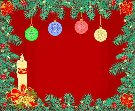 Christmas background decoration frame branches of spruce  with candle vector illustration Vector