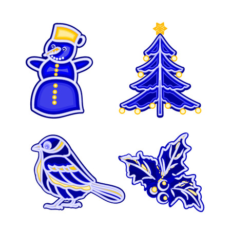 trimmings: Christmas decoration blue faience vintage snowman tree bird holly vector illustration Illustration