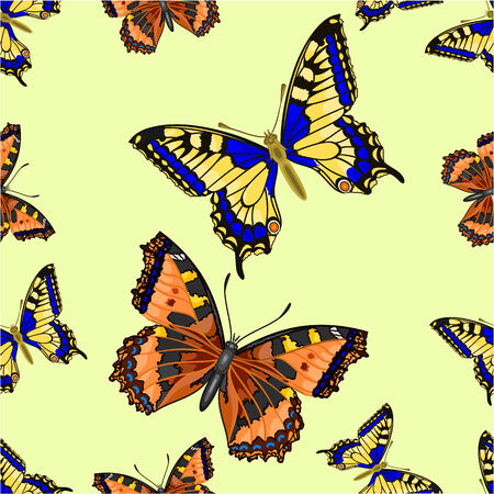 inachis: Seamless texture flight Butterfly Inachis io and Vanessa cardui vector illustration