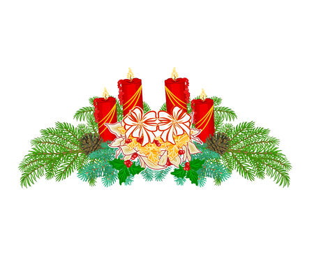 advent candles: Christmas Advent wreath red candles with white poinsettia vector illustration
