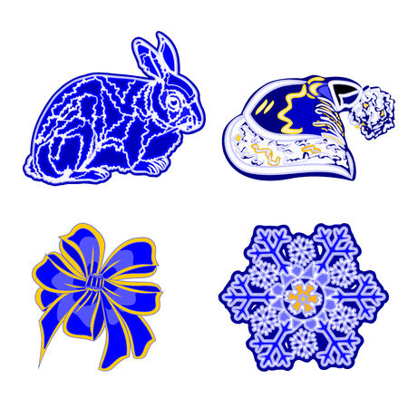 trimmings: Christmas decoration blue faience vintage rabbit Santa\\\\