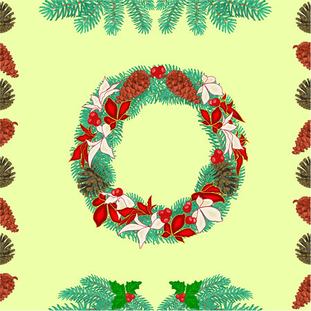pine cones: Seamless texture christmas wreath and pine cones and spruce branches vector illustration Illustration