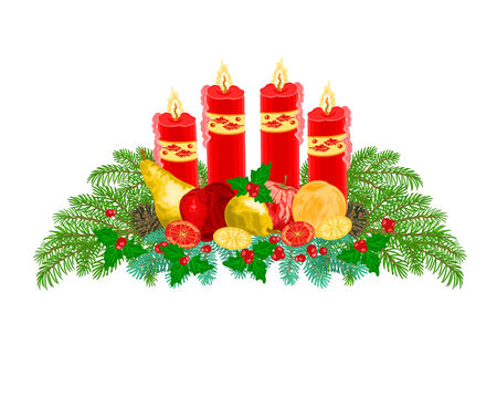 advent wreath: Christmas decoration Advent wreath with fruit and red candles vector illustration
