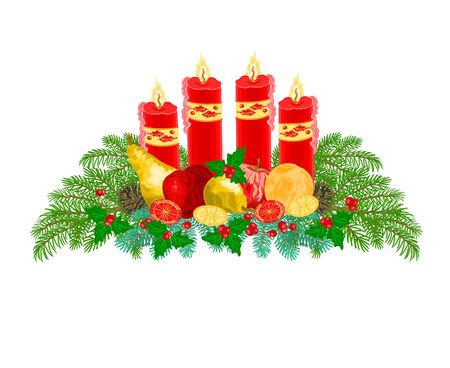 adventskranz: Weihnachtsdekoration Adventskranz mit Obst und rote Kerzen Vektor-Illustration
