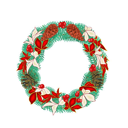 pine cones: Christmas decoration Wreath with pine cones and  poinsettia vector illustration