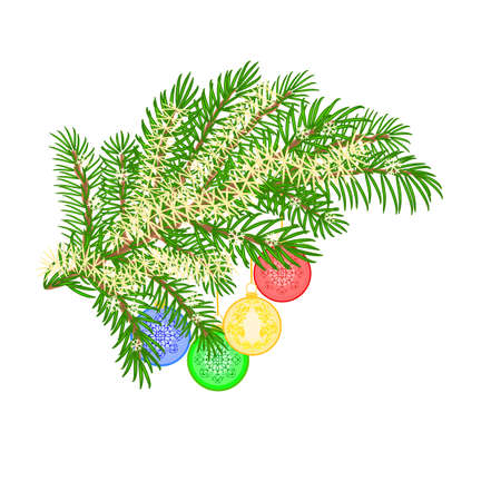 trimmings: Christmas decoration Christmas branch with various baubles background vector illustration