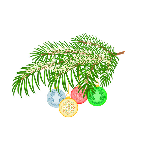 trimmings: Christmas decoration Christmas branch with and vintage baubles background vector illustration