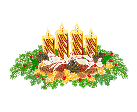 advent candles: Christmas decoration Advent wreath with pine cones and gold candles vector illustration