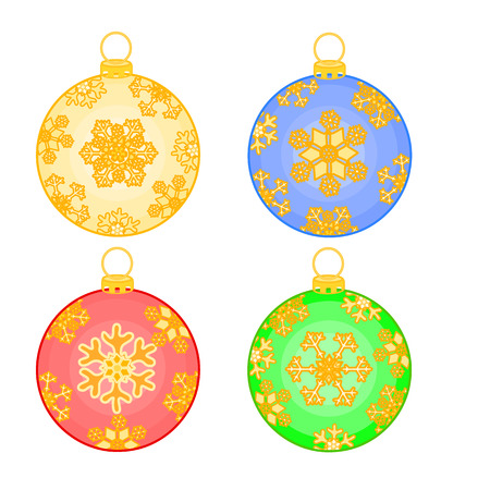 trimmings: Christmas baubles balls with snowflakes christmas trimmings vector illustration