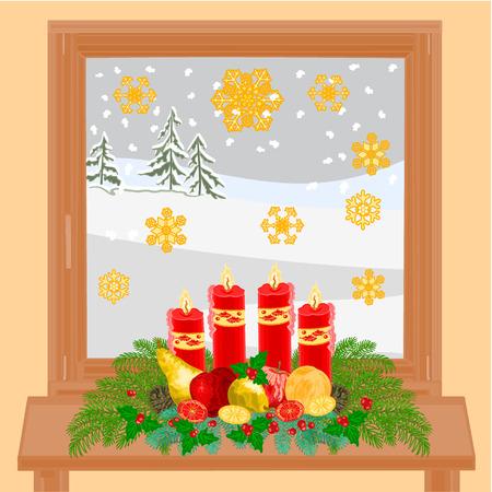 adventskranz: Weihnachtsdekoration Winter Fenster mit Adventskranz und goldenen Schneeflocken-Vektor