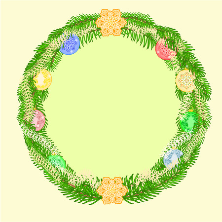 trimmings: Christmas decoration wreath with vintage baubles Christmas trimmings vector illustration