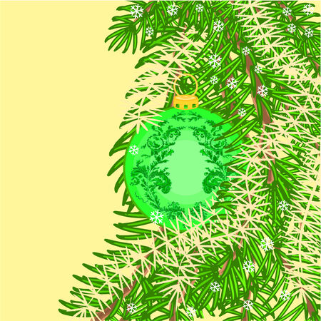 trimmings: Christmas decoration  vintage green  baubles Christmas trimmings vector illustration