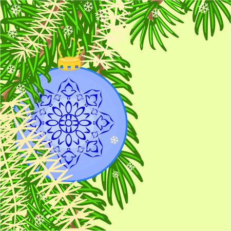trimmings: Christmas decoration  vintage blue baubles Christmas trimmings vector illustration