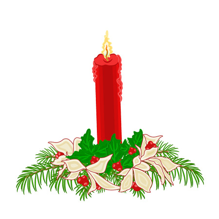 velas de navidad: Vela de la Navidad roja con ramas de acebo y flor de pascua de vectores