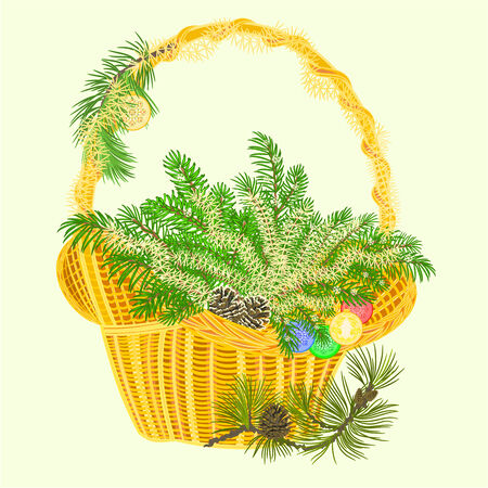 pine cones: Christmas decoration basket with branches and baubles and pine cones vector illustration
