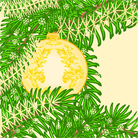 trimmings: Christmas decoration  yellow baubles vintage rosette ornamental patterns Christmas trimmings vector illustration