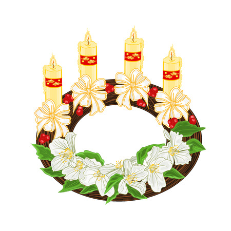 Christmas decoration wreath with white flowers and white bows vector illustration Illustration