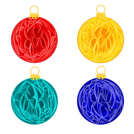 trimmings: Christmas baubles balls christmas trimmings vintage vector illustration