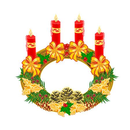 advent wreath: La decoraci�n de Navidad circular corona de Adviento con la ilustraci�n vectorial pi�as