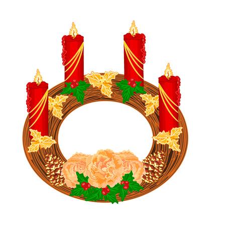 advent wreath: La decoraci�n de Navidad circular corona de Adviento con la ilustraci�n de las rosas de t� vector
