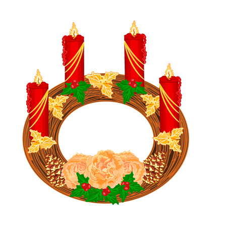 adventskranz: Weihnachtsdekoration Rund Adventskranz mit Tee Rosen Vektor-Illustration