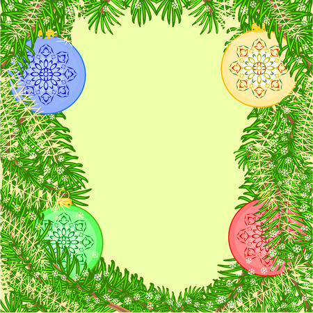 trimmings: Christmas decoration  vintage yellow baubles Christmas trimmings vector illustration