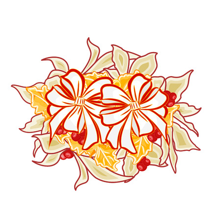 Christmas decoration and two bows with gold holly and poinsettia vector illustration Vector