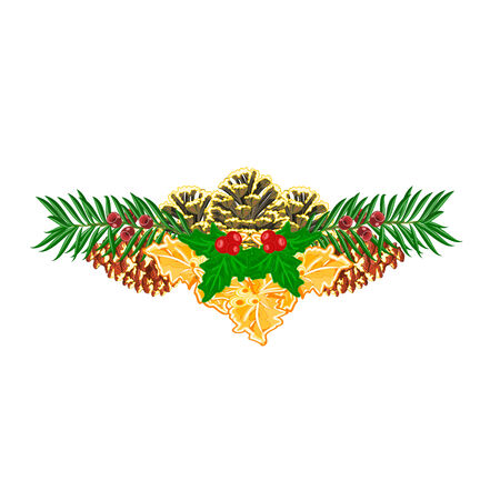 yew: Christmas decoration  with pinecones green and gold leaves holly and yew vector illustration Illustration