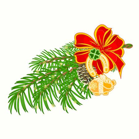 Christmas decoration lucky symbols Four Leaf Clover horseshoe pig vector illustration Vector