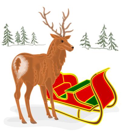 santa sleigh: Christmas Reindeer with Santa sleigh  background vector illustration