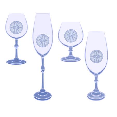 champaign: Champaign glasses  cut glass blue vector illustration