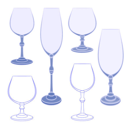 champaign: Six champaign wineglass  blue crystal vector illustration