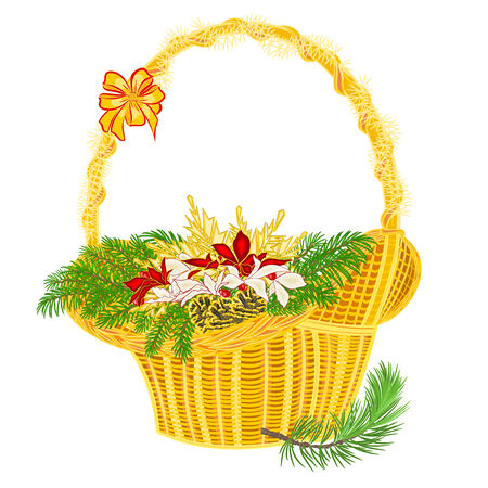 pine cones: Christmas decoration basket with branches and poinsettia and pine cones vector illustration