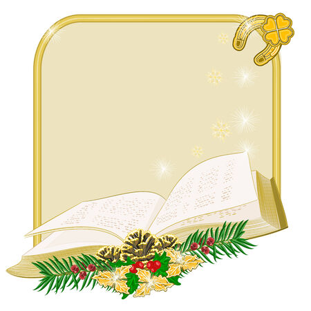yew: Christmas decoration  frame with book  and pine cones and yew vector illustration Illustration