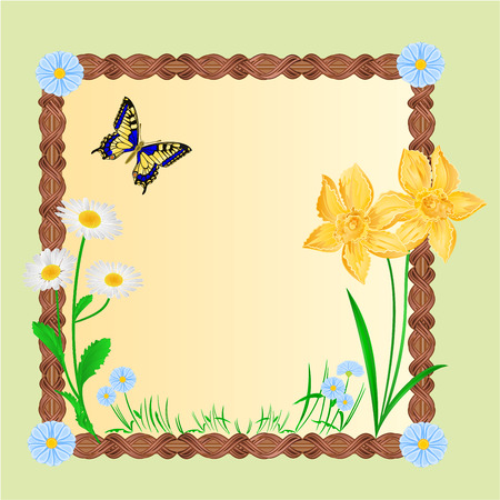 inachis: Spring floral background with butterflies frame place for text vector illustration Illustration