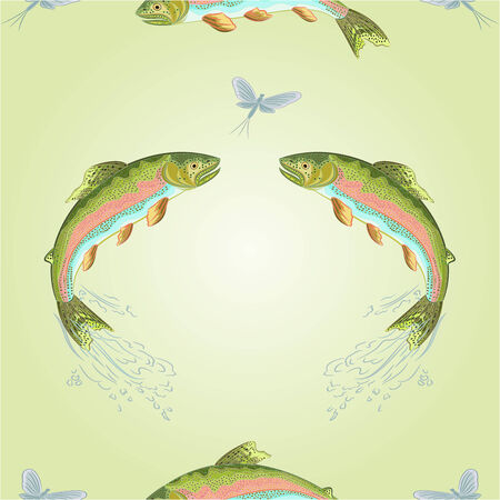 carnivore: Seamless  texture American trout carnivore jumps vector illustration